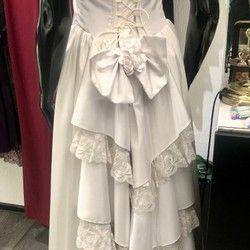 Bela korset haljina od satena, bretele se mogu prilagoditi (broj 38) - HIT cena!