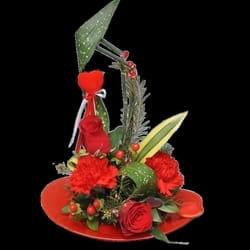 Cveće za rođendane - Cvetni aranžman na staklenoj posudi - Ulepšajte dan !