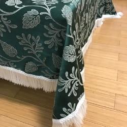 Svečani brokatni stolnjak Zeleni sa belim svilenim resama