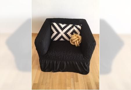 Rastegljive navlake za fotelje Crne sa karnerom