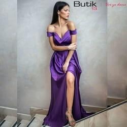 Ljubičasta haljina sa šlicem i spuštenim bretelama!