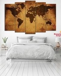 Slika na platnu iz delova Mapa Sveta, World map